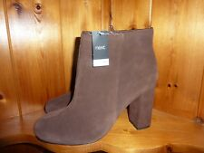Ladies Next Brown Suede Leather Block Heeled Ankle Boots SZ Uk 6 Eur 39 BNWOB