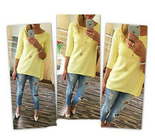 New Fashion Women Ladies Long Sleeve Casual Loose Shirt Tops Blouse T-Shirt XL