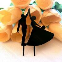 Silhouette Bride and Groom First Dance Wedding Cake Topper Bachelorette Party