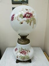 Antique Cranberry Floral Gone With The Wind Banquet Lamp Circa 1895