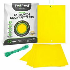 Yellow Sticky Fly Traps — 40 Pack   Trap for Fruit Flies, Fungus Gnats and More