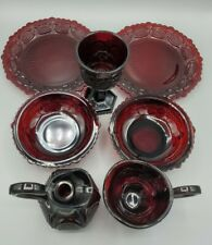 7 piece Lot - Vintage Avon Cape Cod Collection 1876 Ruby Red Glass ware bowls