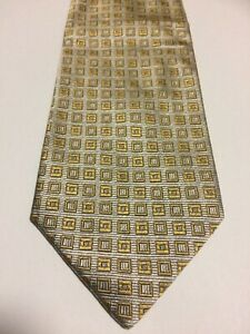 GREGORY CRAVATTE Silk Tie Silver with Gold squares **BRAND NEW WITH TAGS**