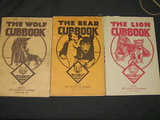 Wolf, Bear & Lion Cubbooks, 1940s  with insignia pages