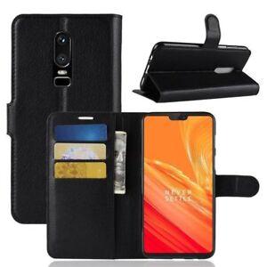 OnePlus 6 Smart Elegance Premium  Pu Leather Wallet Case Cover - Black