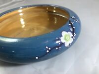 Vintage Japan Cherry Blossom LUSTERWARE Bowl Bonsai Planter Blue Flowers Orange