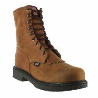 Justin Men's 8IN Lace Up Aged Bark Brown Round Steel Toe Work Boots 795 NIB