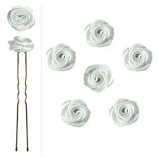 6 épingles pics cheveux chignon mariage mariée danse roses en satin blanc