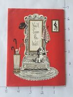 "Vintage Greeting Card ""GET WELL SOON"" Mid-Century, Retro UNUSED No Envelope #8"