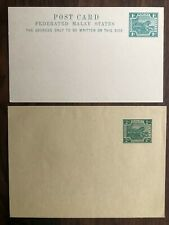 2 X FEDERATED MALAY STATES STRAITS SETTLEMENTS OLD POSTCARD COVER 1 2 CENTS !!