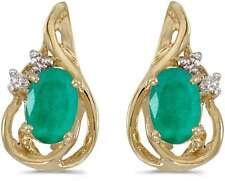 10 Quilates ovalado de Oro Amarillo Esmeralda & Diamante Pendientes largos