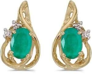 10k Yellow Gold Oval Emerald & Diamond Teardrop Earrings
