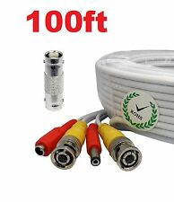 100ft Security Camera Extension Video Power Cable BNC CCTV DVR Surveillance