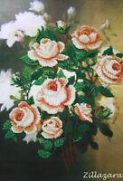 Blume Weiße Rose Stickpackung Stickset Stickbild Stickvorlage Bild Perlen 476