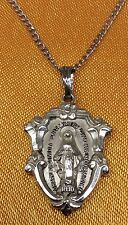 Vintage Antique Creed Fine Sterling Silver Virgin Mary Pendant/Chain Necklace