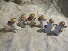 SET OF 6 PORCELAIN ANGEL ORNAMENTS~NIB