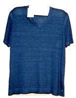 120% Lino Blue Italy Design 100% Linen Men's T- Shirt Shirt Size 4XL Slim Fit