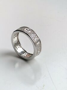 Solid Silver 925 Clear Cubic Love Screw Ring Size L