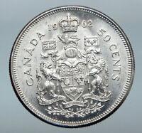 1962 CANADA Queen Elizabeth II Arms Crown VINTAGE SILVER 50 Cents Coin i85261