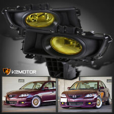 2007-2009 Mazda 3 4-Door Sedan Yellow Lens Bumper Fog Lights+Switch+H11 Bulbs