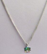 Collier pendentif chaîne bijou métal argenté cube solitaire cristal citrine 1802