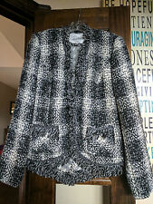 """CABI #909 """"Best in Show """" Tweed Blazer Jacket Black White Womens Size 4"""