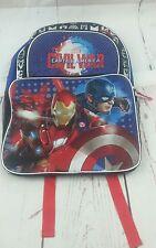New Marvel Civil War Captain America Iron Man Black Blue 3 Pocket Backpack