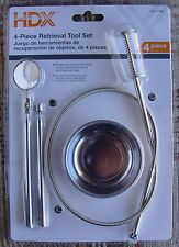 4 Piece Small Item Retreival Set: Claw Grabber Mirror,. Magnet, Magnetic Dish