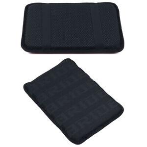 BRIDE Black Racing Fabric Car Armrest Pad Cover Center Console Box Cushion Mat