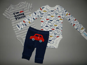 NWT, Baby boy clothes, Preemie, Carter's 3 piece car set/  ~~SEE DETAILS ON SIZE
