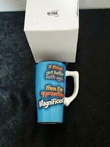 New, Better w/ Age, 14oz. Travel Mug High Quality Double Wall Ceramic, Free Ship