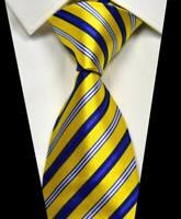 New Classic Stripe Yellow Blue White 100% Silk Men's Necktie Neck Tie 3.15'' 8CM