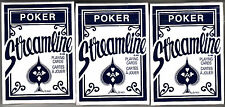 Playing cards, Streamline Poker Cards, Blue, 3 Decks, Brand New, Sealed