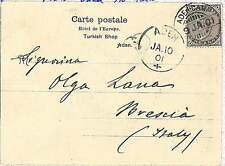 POSTAL HISTORY  - ADEN : INDIAN STAMP used in ADEN on POSTCARD to ITALY 1901