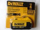 (1) New GENUINE Dewalt 20V DCB204 4.0 AH MAX XR Battery Sealed Package!
