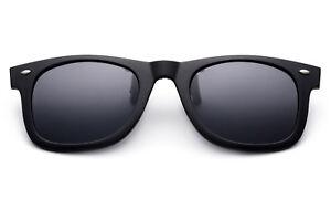 Matte Black Polarized Lens Glare Block Clip on Glasses Flip Up Sunglasses