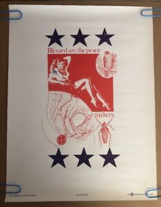 Original Vintage Blessed Are The Peace Makers Antiwar Peace 1967 Wm. Weege Pinup