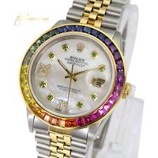 Rolex Men's Datejust 2Tone White MOP Diamond/Emerald  Dial Rainbow Bezel 36mm