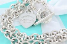 Please Return to Tiffany & Co Silver Toggle Heart Tag Love Necklace w/ Packaging