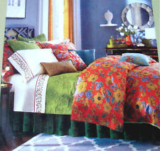 Sferra Mai Tai Queen 3Pc Duvet Cover Shams 400 TC Floral Rouge Cotton Sateen New