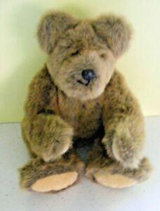 "Vintage teddy bear light brown fur fabric cream velvet paws jointed 20"" tall"