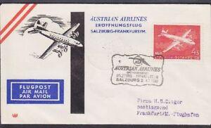 Autriche No. 1041 Ef Poste Aérienne Aua Eröffnungsflug Salzbourg - Francfort