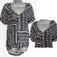 UK 8 MONSOON Black Cream Short Sleeve Round Hem Sheer Casual Formal Shirt Top