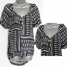 MONSOON Black Cream Short Sleeve Round Hem Sheer Casual Formal Shirt Top UK 8