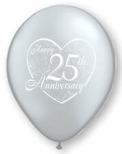 "10 pc - 11"" Happy 25th Anniversary Latex Balloon Party Decoration Wedding Silver"