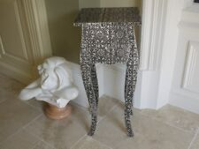 Blackened Silver Embossed 1 Drawer Bedside Table  Cabinet side table Marrakesh