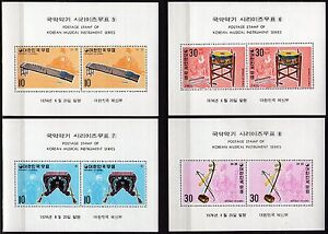 #934 - Corea del Sud - Lotto di 4 foglietti (strumenti musicali), 1974 - Nuovi