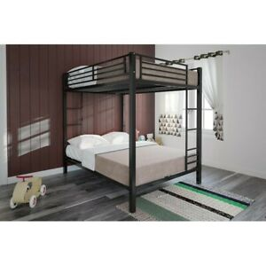 Dhp full-over-full metal bunk bed for kids, metal frame with ladder