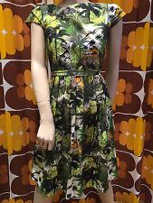 WOMENS RUN & FLY Indie Retro Vintage style 5o's tea dress jungle dinosaur print