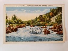 1930's Little Copper Falls State Park Wisconsin River People Trees Postcard